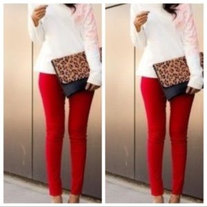 Pants - High Waisted Red Leggings
